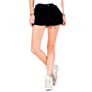 Volcom High Waisted Black Ripped Shorts